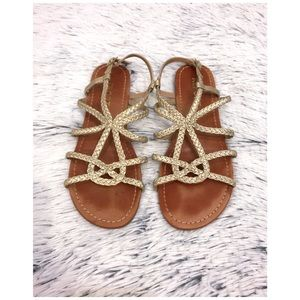 Report Gold Braided Sandals
